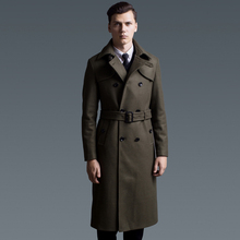 Super-long woolen woolen overcoat Men's Army Green Autumn and Winter 2019 New British double-breasted woolen overcoat size 990