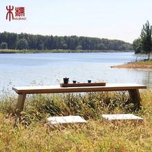 木标新中式纯实木茶几禅意老榆木茶台桌现代简约原木全木质茶桌椅