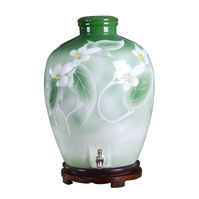 景德镇陶瓷10斤20斤30斤手工酒缸家用泡酒坛子酿酒带龙头仿古瓶子