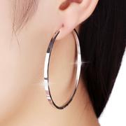 925纯银圆圈耳环女 韩国气质欧美时尚圆形耳圈银饰圆环大圈圈耳坠