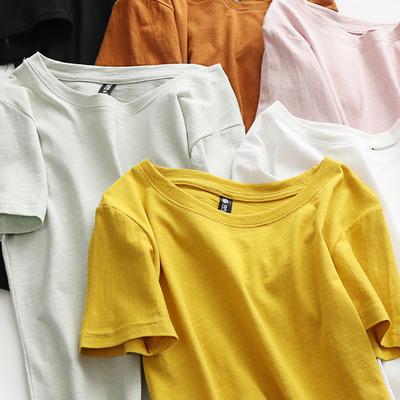 夏季纯棉短袖T恤女白色宽松上衣2019新款纯色学生竹节棉韩版体恤