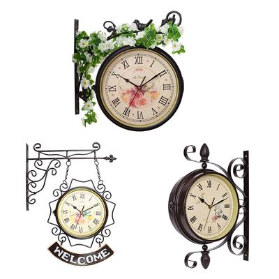 特价美式乡村田园铁艺静音小鸟 客厅卧室餐厅  欧式双面 挂钟钟表