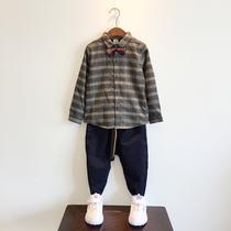 韩版童装18秋冬中大童加绒加厚衬衫男童格子衬衣外套绅士领结休闲
