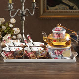 Classical rose European-style bone porcelain tea set English afternoon tea glass candle heating flower teapot teacup