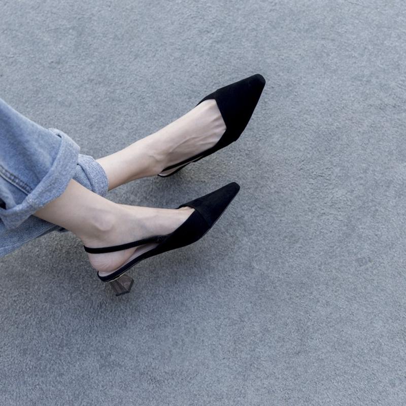 2019春夏一字带女鞋真皮异形跟气质优雅方头性感显瘦中跟女凉鞋潮