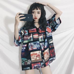 衬衣女2018新款韩版bf风复古ins港风polo衫上衣宽松短袖衬衫学生