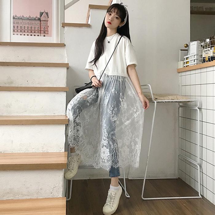 韩版勾花拼接裙