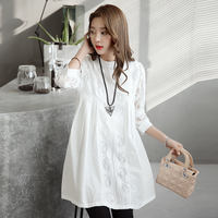 Pregnant women dress spring 2019 new fashion models two-piece summer hot mom early spring and autumn shirt shirt