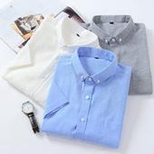 男夏季修身 牛津纺白衬衣男士 意宾短袖 衬衫 潮流韩版 纯色青年半袖