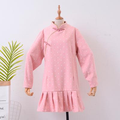 1.4斤 H#13 2018秋装新款韩版立领荷叶边长袖中长款连衣裙毛呢裙