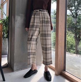 PXARNO东急社miss岚同款the mslan格子高腰显瘦直筒裤