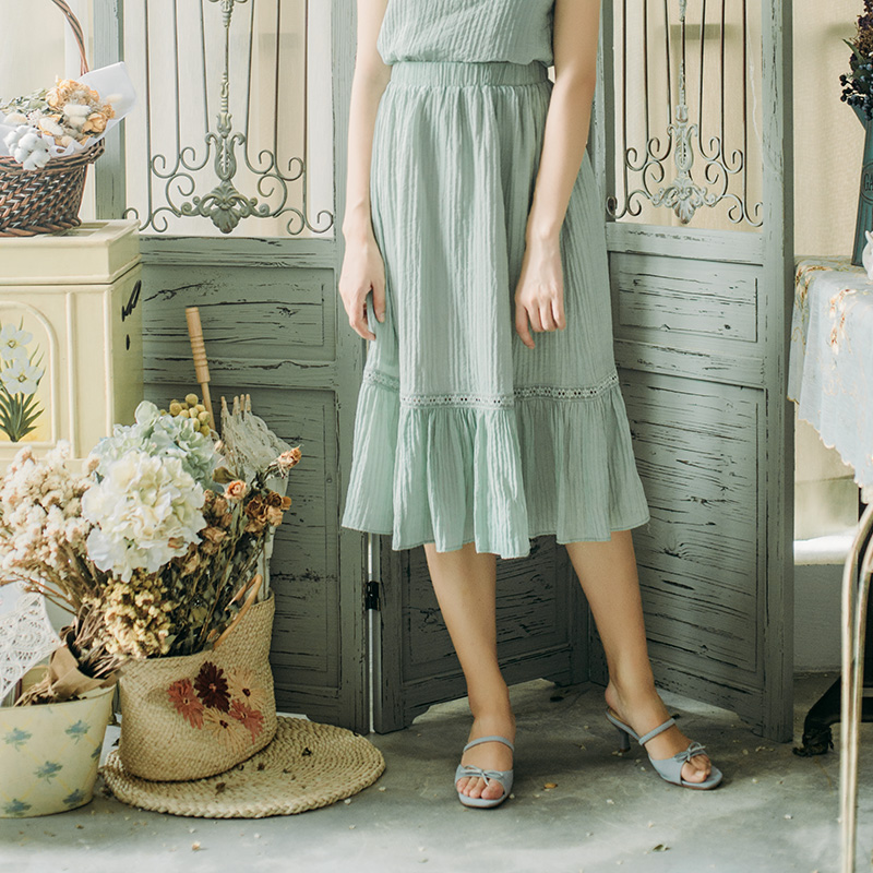 苏以原创 素素 复古半身裙 蕾丝拼接半身裙