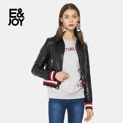 艾格E&joy个性条纹拼接皮质短款长袖外套女8A082102895