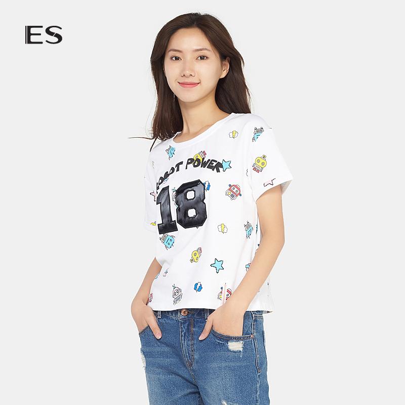 艾格ES夏新款时尚简约可爱印花休闲款短袖T恤女17032831786