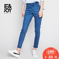 艾格Etam basic2018春新款简约纯色修身牛仔小脚长裤女8E2023000