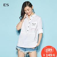 艾格ES2018夏新款女中长款卡通印花七分袖衬衫8E0314045