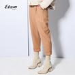艾格Etam2017冬季纯色休闲高腰羊毛七分裤女8A012001071