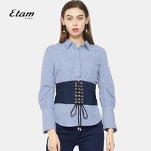 艾格Etam时尚复古条纹腰封长袖衬衫两件套女17011428141