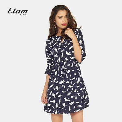 艾格Etam时尚圆领印花雪纺短款收腰七分袖连衣裙17012219940