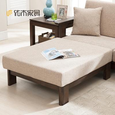 优木家具 纯实木沙发脚凳 可拆洗脚踏 白橡木布艺脚踏 北欧简约特价精选