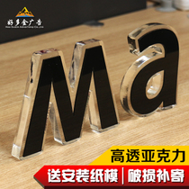 Crystal Word Custom PVC acrylic snow Word stainless steel mini luminescent word foam word image wall Door header word