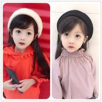 Autumn and winter new England little princess pure wool wild buds Japanese children's hat girl painter beret