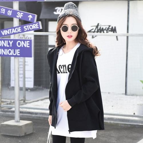 2018秋装新款韩版宽松连帽开衫薄款卫衣女中长款外套加绒长袖bf风