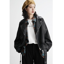 VEGA CHANG locomotive leather jacket women's autumn 2019 new Korean version short jacket with loose black jacket
