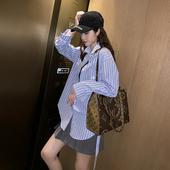 宽松百搭衬衣 2019新款 秋装 长袖 BF风休闲蓝白条纹衬衫 韩版 女中长款图片
