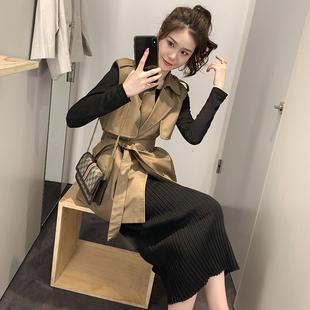 2019流行秋装 新款 领无袖 风衣女中长款 英伦西装 宽松小个子收腰外套