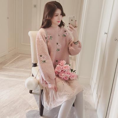 冬季新款粉色宽松拼接毛绒加厚卫衣连衣裙中长款钉珠过膝公主裙子
