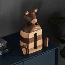 创意黑胡桃木餐厅纸巾盒餐桌实木个性卡通老鼠动物摆件礼品抽纸盒