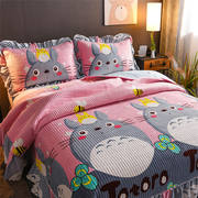 Crystal velvet cartoon European heat storage warm quilted double-sided bed cover pillowcase aunt small pad quilt can be customized