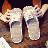Retro linen cotton cloth bottom slippers couple indoor silent no trace mute floor tile men and women summer sandals and slippers