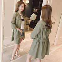 Thin coat female long section 2019 spring and summer new Korean version of the large size waist was thin casual cardigan sunscreen windbreaker