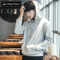 连帽卫衣男加绒套头带帽韩版潮学生纯色运动外套冬季男士帽衫潮牌