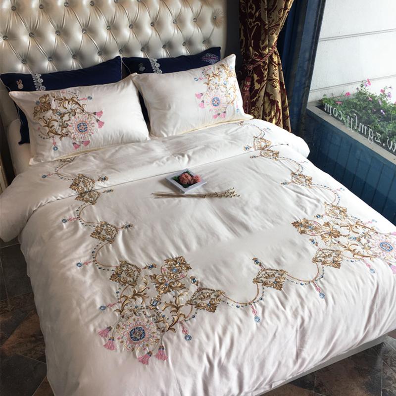 高端刺绣四件套床上用品60s支长绒棉贡缎纯棉小清新绣花1.8床品粉