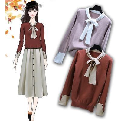 2018秋季新款时尚套头韩版上衣气质显瘦潮流蝴蝶结针织毛衣上衣女