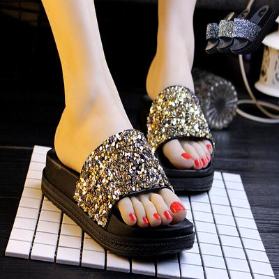 韩版水钻凉拖鞋厚底亮钻拖鞋女松糕跟沙滩拖鞋夏季百搭外穿拖鞋女