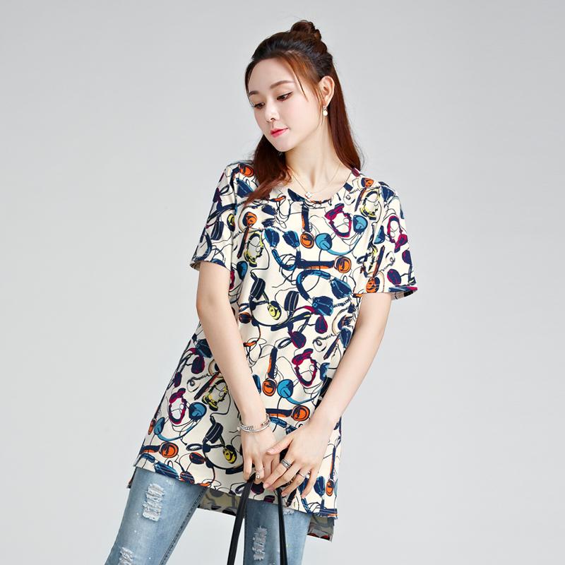 大码女装2018夏装新款肥胖mm纯棉t恤短袖宽松中长款显瘦体恤上衣