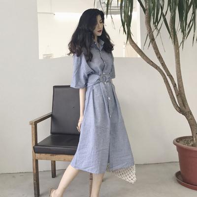 新款韩版百搭小清新气质短袖格子连衣裙收腰复古显瘦衬衫裙送腰带