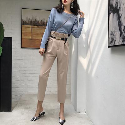 港味套装新款复古薄款长袖针织衫+高腰西装裤宽松休闲裤直筒裤女
