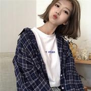 春装女装韩版中长款灯笼袖格子翻领长袖衬衣宽松休闲衬衫上衣外套