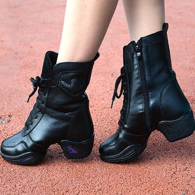 伯尔俪秋冬真皮舞蹈鞋女 广场舞鞋爵士现代跳舞鞋软底水兵舞蹈靴