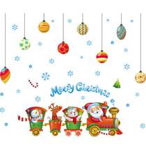 火车彩色圣诞球玻璃橱窗墙贴教师儿童玩具贴纸