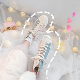 鮀品神仙鞋子韩版1970s高帮帆布鞋女ulzzang潮板鞋2019春季鸳鸯鞋图片