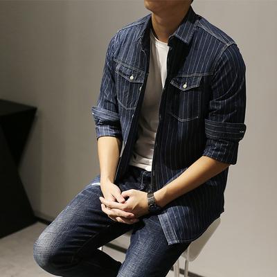 MENSWLL 秋冬新品薄款牛仔长袖衬衫男宽松潮流百搭竖条纹衬衣