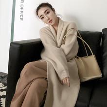 安娜毛衣2018秋季新款百搭宽松针织衫翻领羊毛开衫中长款外套女装