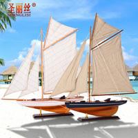 地中海船模型摆件工艺组装船美式单桅小船木船手工船模型欧式帆船