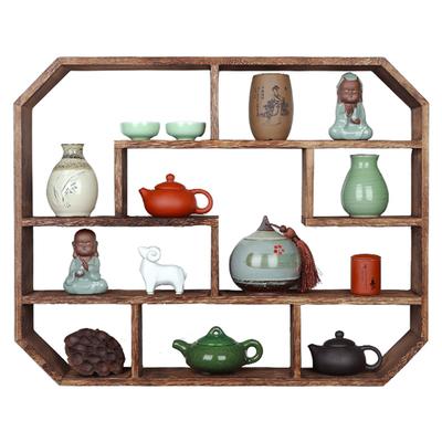 实木博古架中式壁挂墙上茶具架隔断置物架客厅装饰小多宝阁古董架优惠券
